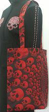 Algodón Eco Bolsón Para las compras Bolso en Negro Rojo cráneos no-muertos Punk Rocker Espiral