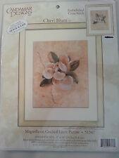 Magnolia on Cracked Linen Picture / Candamar Designs Cheri Blum Cross Stitch Kit