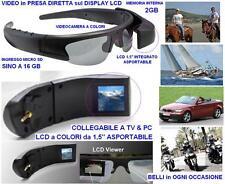 """OCCHIALI con FOTO e VIDEO CAMERA 2GB ed LCD a COLORI 1,5"""" BARCA MOTO SCI PESCA"""