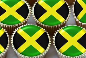 EDIBLE ICING SHEET - 24 X JAMAICA JAMAICAN FLAGS EDIBLE CUPCAKE TOPPERS OLYMPICS
