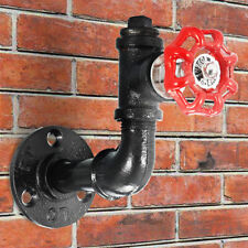 Tap Urban Industrial Style Iron Water Pipe Effect Wooden Wall Shelf Coat  ❤