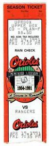 RANGERS @ ORIOLES ~ 1991 Ticket, Ripken Streak Game #1420 ~ FREE SHIPPING