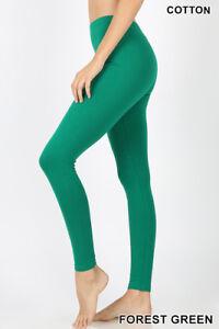Zenana Long Leggings Yoga Pants High Waisted Cotton Stretch S-XL Plus 1X-3X *USA