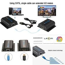 Useful 60M IR HDMI Adapter Extender Over Single LAN RJ45 CAT5e CAT6/7 Cable QT