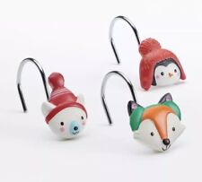 """St Nicholas Square Winter Critters Shower Curtain Hooks """"Oh What Fun!"""" NEW"""