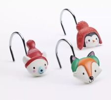 """St Nicholas Square Winter Critters Shower Curtain Hooks """"Oh What Fun!� New"""