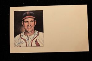 Playing Days 1950s Enos Slaughter St Louis Cardinals Signed Index Card HOF D2002