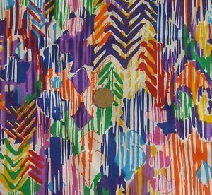 "Colorful Fabric Cotton Fabric DECORATOR MOD FLOWER STRIPE on White 60""W x 1¾ Yds"