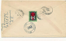 CANADA:1936 RED CROSS XMAS SEAL TIED REGISTERED COVER. 13c RATE-VANCOUVER-U.S.