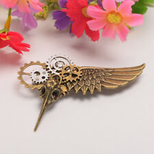 Vintage Steampunk Plague Bird Face Mask Breast Pin Gear Wing Brooch Pin Unisex