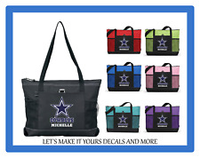 DALLAS COWBOYS WITH NAME TOTE PURSE TRAVEL SPORTS GYM SCHOOL BAG ZIPS