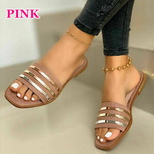 Womens Square Toe Summer Open Toe Flat Slippers Slip On Sandals Beach Chic Shoes
