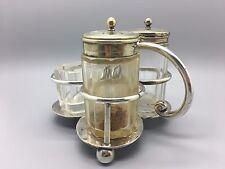 VINTAGE PHILIP ASHBERRY & SONS shefield SILVER PLATED Saliera-Pepaiola & contenitori di vetro