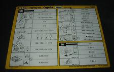 Inspektionsblatt Toyota Corolla Diesel CE 70 Werkstatt Service Blatt 10/1982!