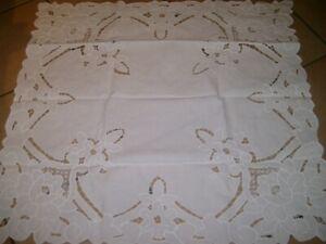 Tischdecke Mitteldecke Baumwolle Handarbeit Richelieu Rosen