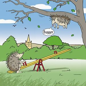 Funny Card with Hedgehogs - Humour Card - Blank Card - Happy Birthday Card