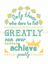 QUOTE TEXT WORD MOTIVATION DARE FAIL ACHIEVE GREATLY LARGE ART PRINT LF1072