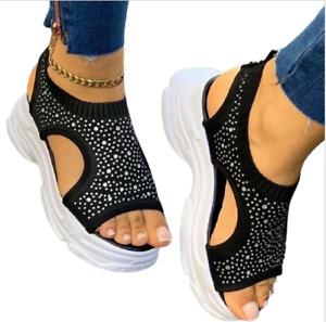 Womens Open Toe Platform Sandals Chunky Wedge Heel Summer Beach Shoes Rhinestone