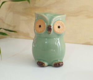 Ceramic Owl Ornament Statue Figurine Gift Small Glazed Bird Urban Green Cute