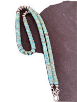 "New Blue Turquoise Heishi Sterling Silver Necklace Navajo Pearls 7 mm 20"" 1190"