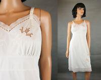 Vintage Full Slip Sz 36 50s White Nylon Embroidered Lace Inserts Chiffon NOS NWT
