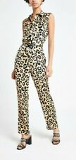River Island Womens Leopard Print Jumpsuit, Size 14, Brown Mix, Belted, BNWT