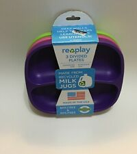 Re-Play Made in USA 3pk Divided Plates with Deep Sides for Easy Baby, Toddler -