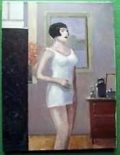 Art Deco Geisha Bob Pelo Chica En Faja: Pintura Al Óleo Original Zlatan pilipovic