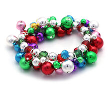 Christmas Colorful Jingle Sound Bell Beaded Stretch Bracelet Holiday Jewelry