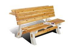 Flip Top Convertible Bench Table Picnic Garden Outdoor Furniture Resin Brown