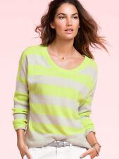 NEW VICTORIA'S SECRET 100% Cashmere Striped Boxy Sweater Pullover sz M $158