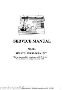 Husqvarna Viking #1+ / 1250 Service manual (+ Embroidery Unit) & Parts on CD