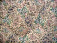 """Vintage PAISLEY & FLORAL Down Comforter 70"""" X 75"""" AQUA Flowers Feather Filled"""