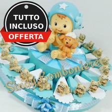 Torta bomboniere battesimo nascita bimbo tutina confetti azzurri+bigliettino