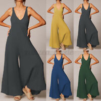 UK Women Summer Sleeveless V Neck Jumpsuits Casual Loose Wide Leg Playsuits Plus