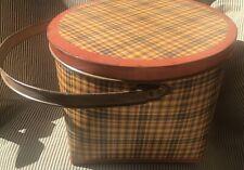 Great Round Orange Plaid Metal Tin Basket With Lid HandleStorage Primitive Look.