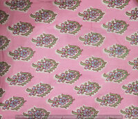 Indian 100% Cotton Voile Fabric Pink-White Sewing Hand Block Print Craft 10 yard