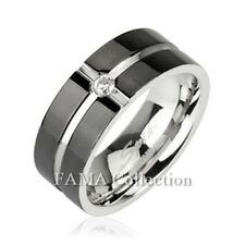 FAMA Stainless Steel Ring with Layered Crossing Black IP w/ CZ Centre Size 5-13