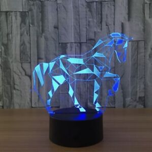 3D Horse Lamp 7 Color LED Visual Night Light Touch Bottom Home Decorative Gift