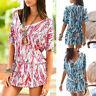 Women Stylish Loose Short Sleeve Printed V-Neck Beach Bohemian Short Mini Dress