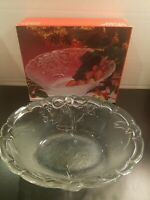 Vintage Mikasa Crystal Oval Serving Bowl 10  Embossed Frosted Holiday Bells