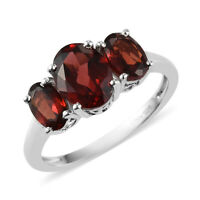 925 Sterling Silver Platinum Over Garnet Promise Ring Jewelry Gift Size 8 Ct 2.5