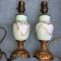 """Pair Antique Handpainted Porcelain Ornate Metal Base Matching 8"""" Table Lamps"""