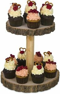 Wooden Rustic Cake Cupcake Stand, 2 Tiers