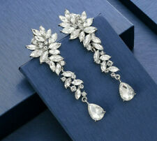 SILVER PLATED CLEAR AUSTRIAN CRYSTAL LONG DANGLE STATEMENT CLIP ON EARRINGS