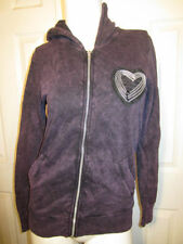 BORN FAMOUS COUTURE PURPLE WASH ZIPPER HEART HOODIE FROM HOT TOPIC SIZE  MEDIUM