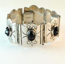 Vintage Mexican Sterling Silver & Carved Onyx Face Panel Link Bracelet