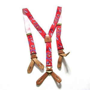 Polo Ralph Lauren Mens Jamaican Red Suspenders with Leather Accents