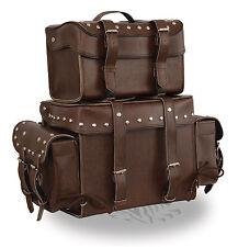 Motorcycle 4 pc extra large touring travel sissy T bar Antique Brn luggage bag