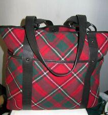 #STUNNING PENDLETON LARGE wool RED TARTAN PLAID leather trim purse tote handbag